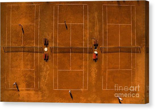 Clay Canvas Print - Aerial Shot Of A Tennis Courts With by L I G H T P O E T