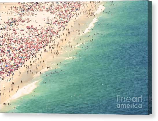 South American Canvas Print - Aerial Summer View Of Crowded Ipanema by Lazyllama