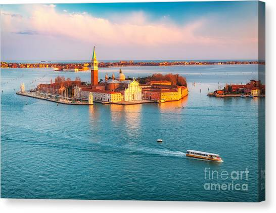 Church Canvas Print - Aerial View At San Giorgio Maggiore by S.borisov