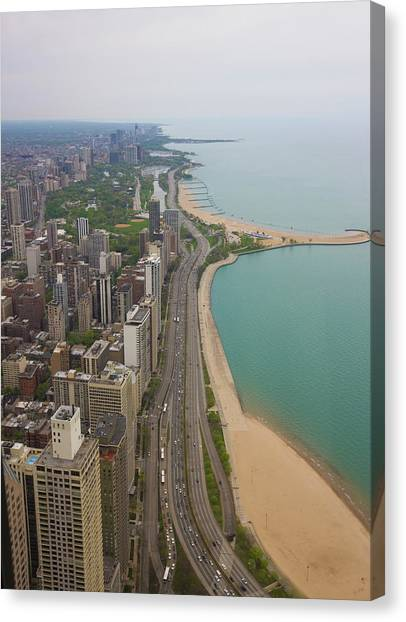 Aerial View Looking North Up Lakeshore Canvas Print