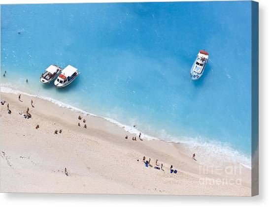 Sandy Beach Canvas Print - Aerial View Of A Beach With Some by Creativemarc