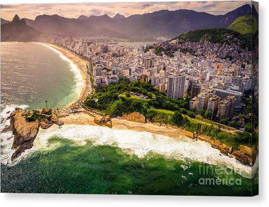 View Canvas Print - Aerial View Of Buildings On The Beach by Celso Diniz
