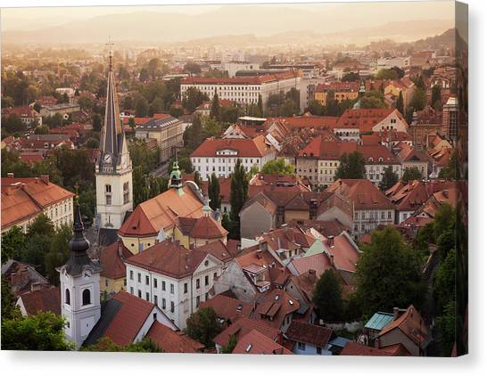 Ljubljana Canvas Print - Aerial View Of Church And Rooftops by Cultura Rf/lost Horizon Images