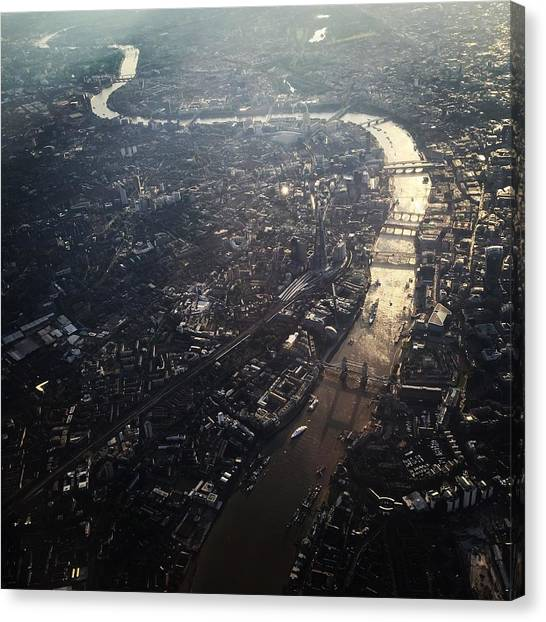 Aerial View Of Cityscape With Thames Canvas Print by Caspar Schlickum / Eyeem