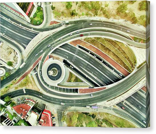 Aerial View Of Freeways In Mexico Canvas Print by Orbon Alija