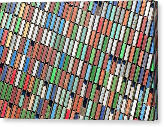 Freight Canvas Print - Aerial View Of Huge Area With Stacked by Oliver Hoffmann