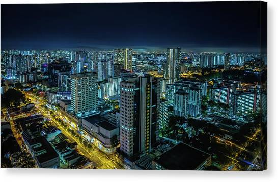 Aerial View Of Illuminated Buildings At Canvas Print by Jan Berndt / Eyeem