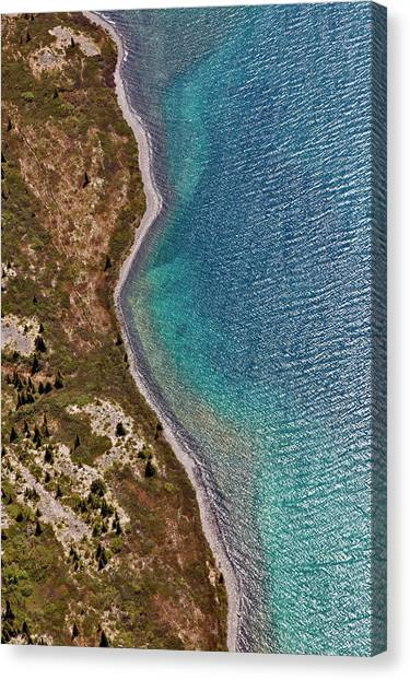 Aerial View Of Lakeshore And Wave Canvas Print