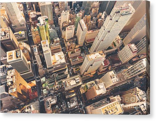 Aerial View Of Midtown Manhattan At Canvas Print by Tierneymj