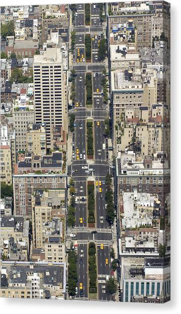 Aerial View Of Park Ave. In Manhattan Canvas Print
