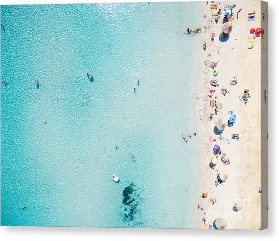 View Canvas Print - Aerial View Of Sandy Beach With by Paul Prescott