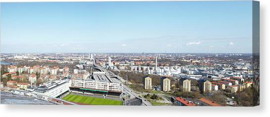 Aerial View Of Stadium Canvas Print by Johner Images