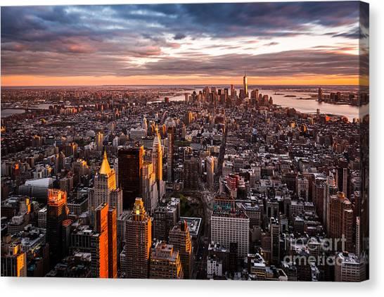 Manhattan Canvas Print - Aerial View Of The Manhattan Skyline At by Mandritoiu