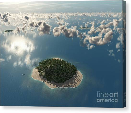 Yacht Canvas Print - Aerial View Of Tropical Island by Photobank Gallery