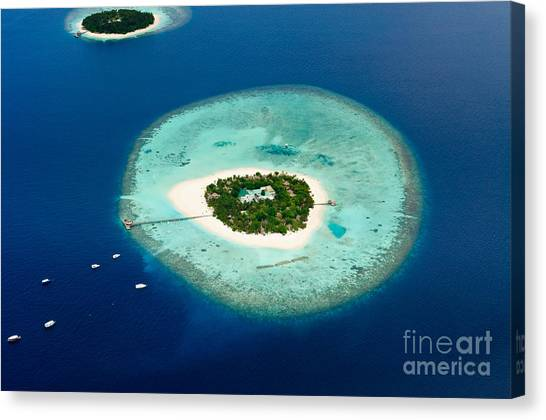Happiness Canvas Print - Aerial View Of Two Maldive Islands And by Arttomcat