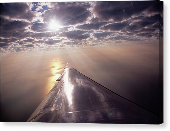 Aeroplane In Flight, Dawn, Elevated View Canvas Print