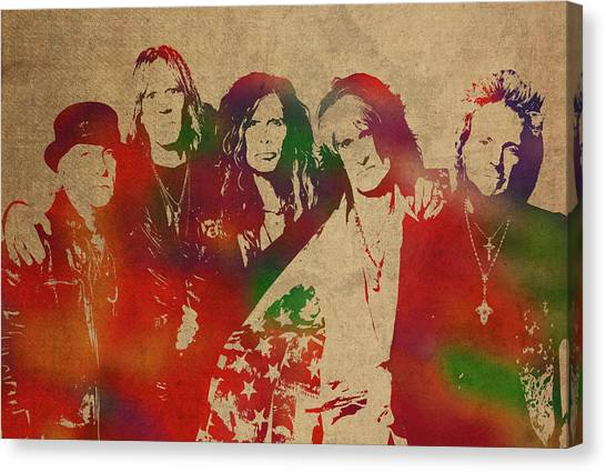 Aerosmith Canvas Print - Aerosmith Watercolor Portrait by Design Turnpike