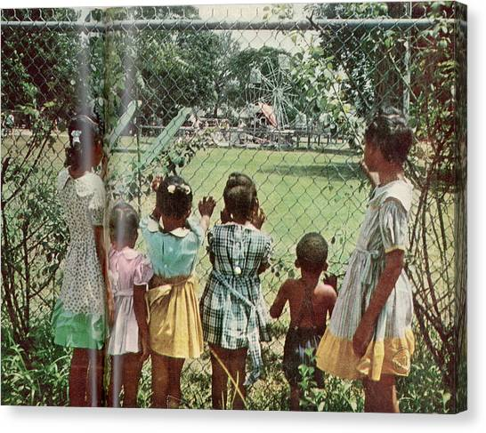 African American Children Peering Canvas Print