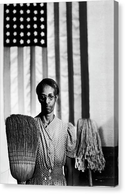 African American Cleaning Woman Ella Canvas Print by Gordon Parks