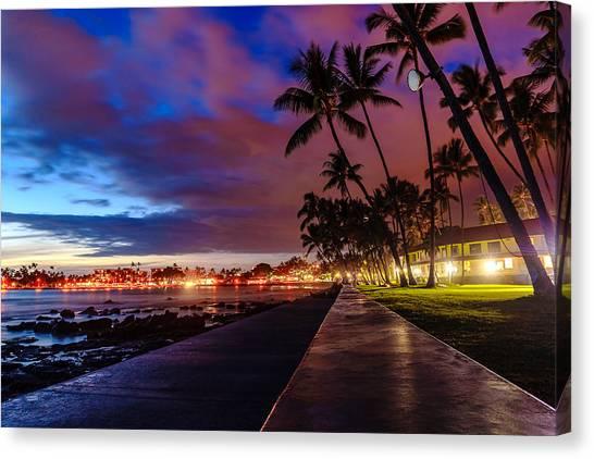 After Sunset At Kona Inn Canvas Print