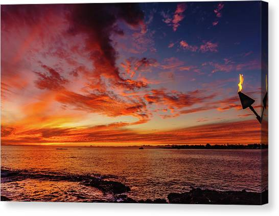 After Sunset Colors At Kailua Bay Canvas Print