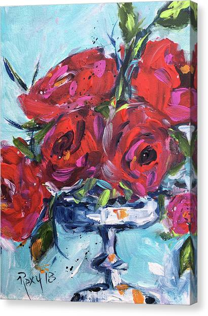 Red Roses Canvas Print - Afternoon Roses by Roxy Rich