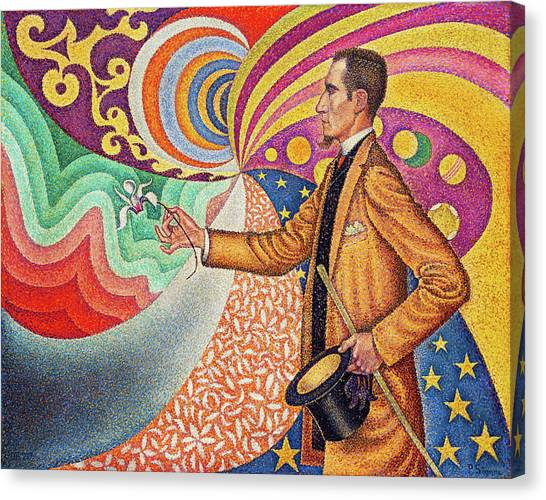 Signac Canvas Print - Against The Enamel Of A Background Rhythmic With Beats And Angles, Tones, And Tints by Paul Signac