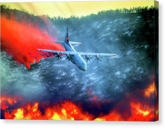 National Guard Canvas Print - Airborne Fire Fighting by Peter Chilelli