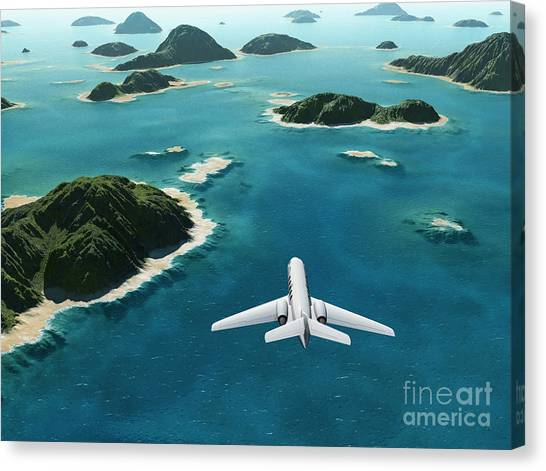Cliffs Canvas Print - Aircraft Flies Over A Sea by Photobank Gallery