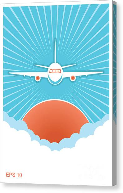 Sun Canvas Print - Airplane In Blue Sky And Sun.vector by Tancha