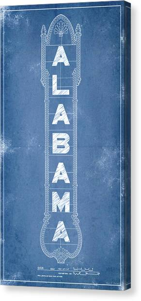 Canvas Print featuring the digital art Alabama Theatre Marquee Blueprint by Mark E Tisdale