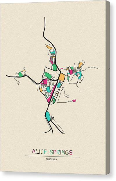 Spring Canvas Print - Alice Springs, Australia City Map by Inspirowl Design