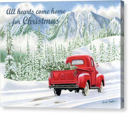 Ford Truck Canvas Print - All Hearts Come Home For Christmas Cards by Sarah Batalka