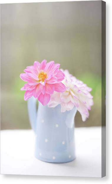Vase Of Flowers Canvas Print - All Human Wisdom Is Summed Up In Two by Natalia Campbell Of Nc Photography