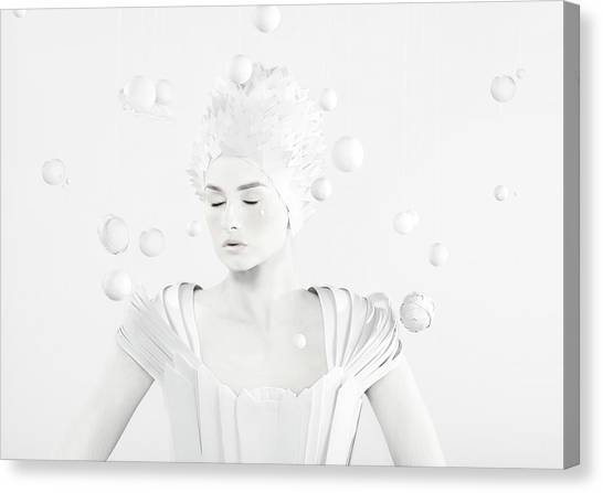 All White Woman In The Center Of Planets Canvas Print by Paper Boat Creative