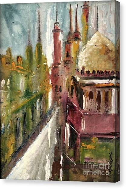 Canvas Print featuring the painting Mosque  by Nizar MacNojia