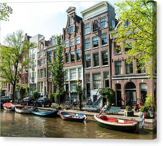 Along An Amsterdam Canal Canvas Print