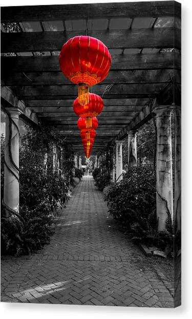 Along The Red Path Canvas Print by Christine Buckley