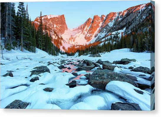 Canvas Print featuring the photograph Alpenglow At Dream Lake Rocky Mountain National Park by Nathan Bush