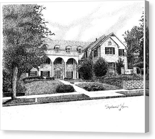 Alpha Phi Canvas Print - Alpha Phi Sorority House, Indiana University, Bloomington, Indiana by Stephanie Huber