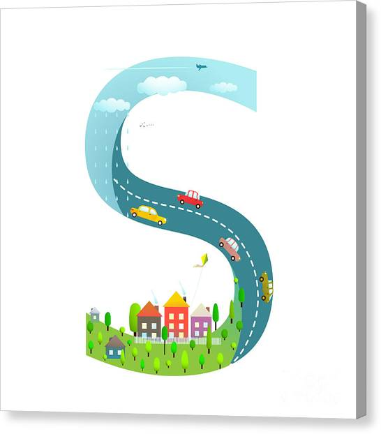 Style Canvas Print - Alphabet Letter S Cartoon Flat Style by Popmarleo