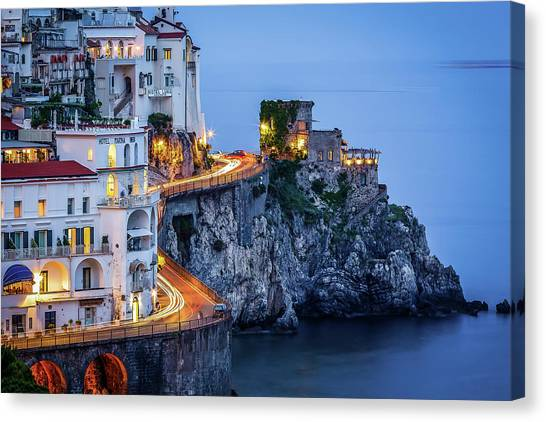 Canvas Print featuring the photograph Amalfi Coast Italy Nightlife by Nathan Bush