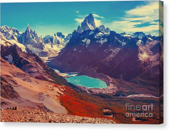 Ice Climbing Canvas Print - Amazing Landscape With Fitz Roy And by Serjio74