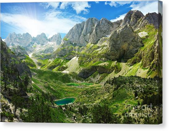 Mountain Climbing Canvas Print - Amazing View Of Mountain Lakes In by Lenar Musin