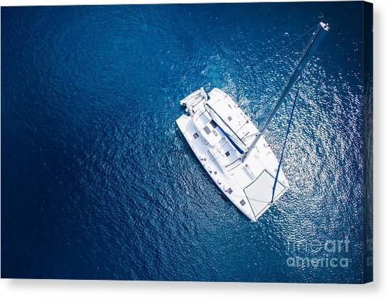 Yacht Canvas Print - Amazing View To Yacht Sailing In Open by Im photo