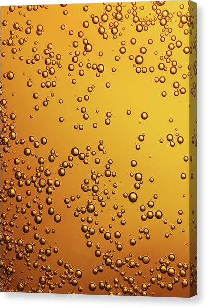 Amber Colored Carbonated Bubbles Canvas Print