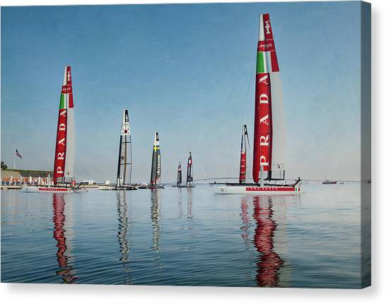 America Cup Boat Reflections Canvas Print