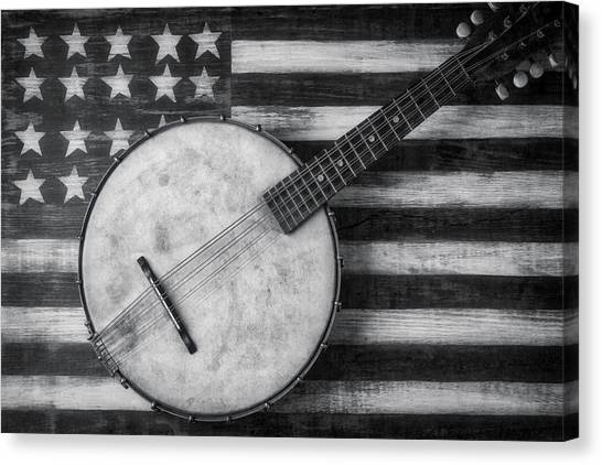 Gay Flag Canvas Print - American Banjo Black And White by Garry Gay