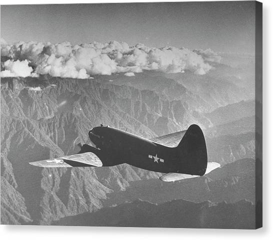 American C-46 Transport Flying The Hump Canvas Print by William Vandivert