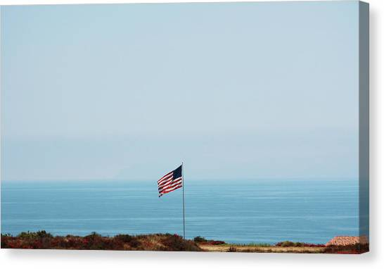 Verde Canvas Print - American Flag Along The Coast Of by Amanda Bolland